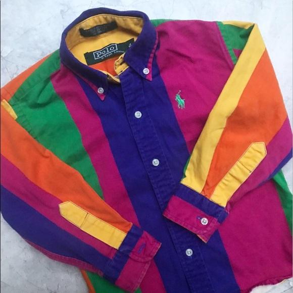 9727accf4d Ralph Lauren Shirts & Tops   Vintage Kids Color Block Button Down ...